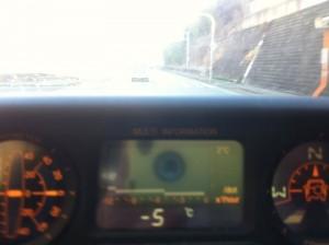車の温度計はマイナス5゜